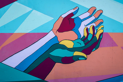psychedelic graphic of a pair of hands