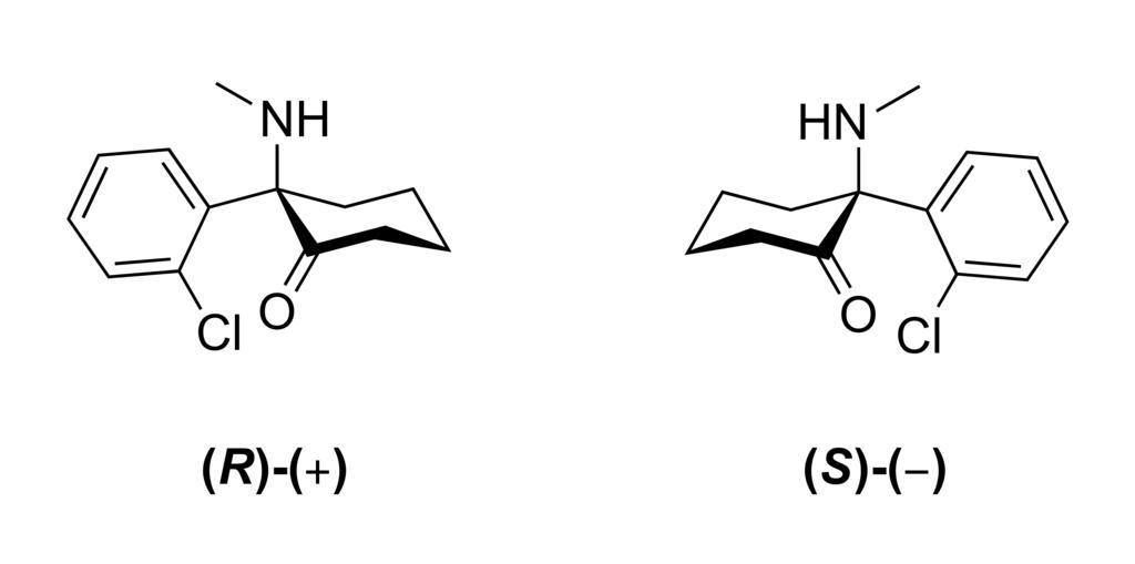 diagram of the structure of ketamine free base enantiomers